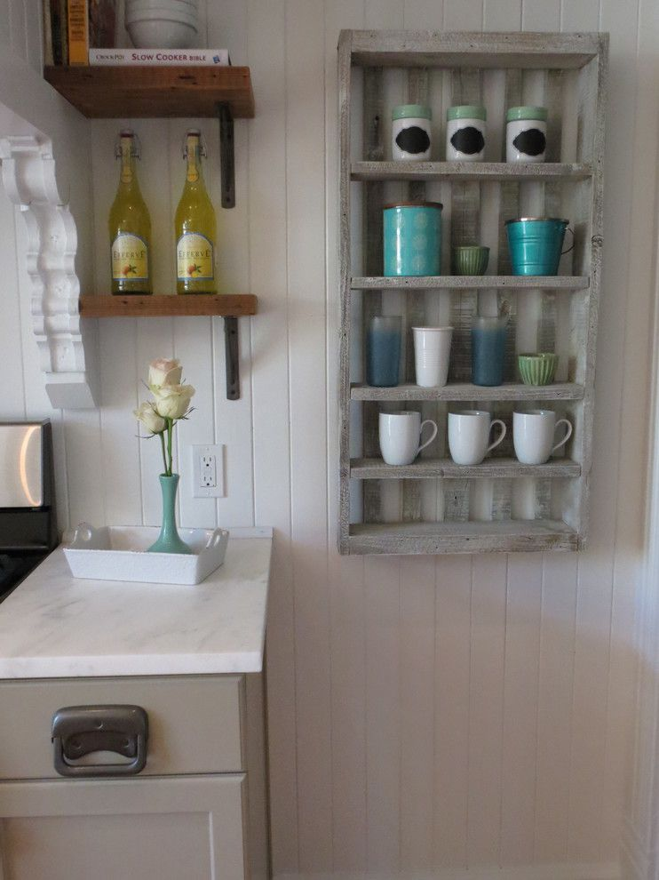 Pallet Shelf for a Farmhouse Kitchen with a Salvage and 1902 J.e. Bannister Remodel by Shannon Quimby
