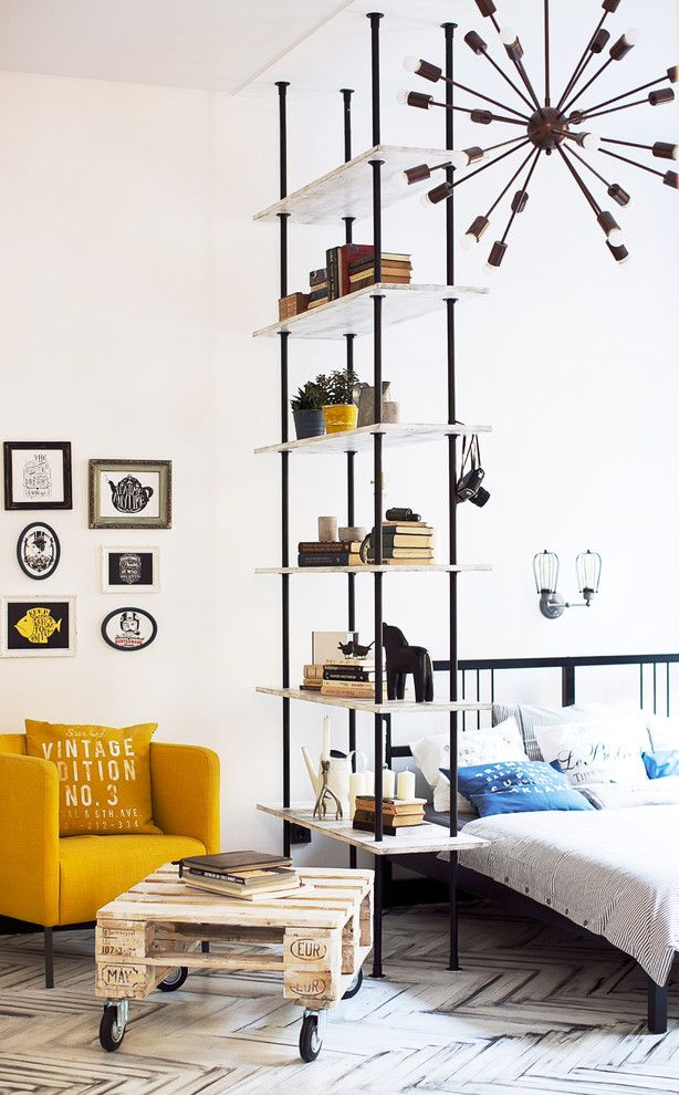 Pallet Shelf for a Industrial Bedroom with a Yellow Armchair and Светлая Квартира Историческом Центре Петербурга by Bohostudio