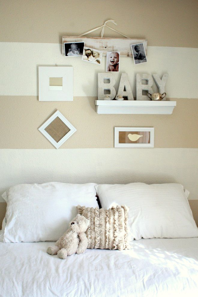 Pallet Shelf for a Traditional Nursery with a Ideas for Baby Boy Nursery and Shades of White Baby Room by the Virginia House