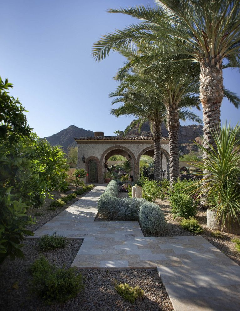 Palmetto Exterminators for a Mediterranean Landscape with a Tile Roof and Citrus & Date Palm Pathway by Exteriors by Chad Robert