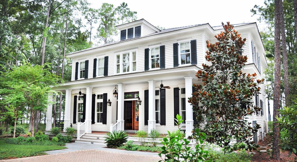 Palmetto Exterminators for a Traditional Exterior with a Black Shutters and May River Custom Home by Hansen Architects, P.c.