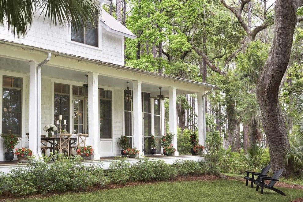 Palmetto Exterminators for a Traditional Porch with a Wrap Around Porch and Palmetto Bluff   Private Residence by Linda Mcdougald Design | Postcard From Paris Home
