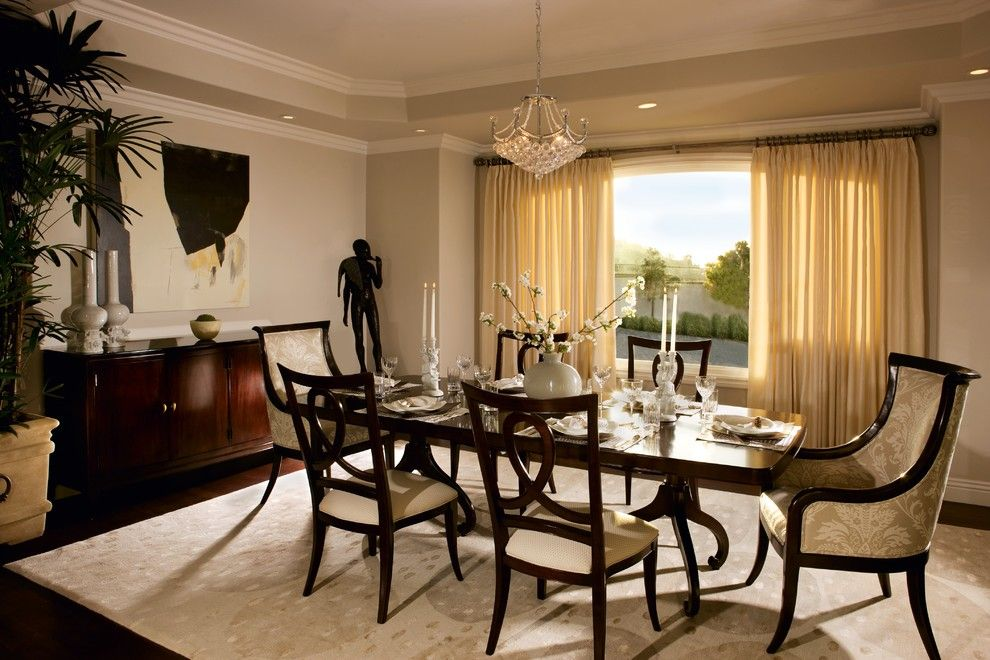Palo Verde Homes for a Traditional Dining Room with a Beige Curtain and Palos Verdes by Suzanne Furst Interiors