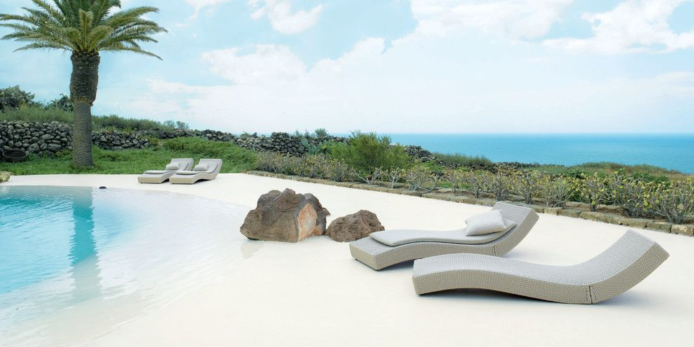 Paola Lenti for a Beach Style Pool with a Outdoor Cushions and Wave Lounge Chair by Paola Lenti by Escale Design