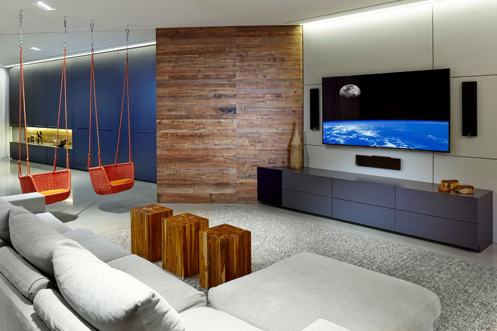 Paola Lenti for a Contemporary Home Theater with a Murphy Beds and Entertainment Haven by Sw Designs