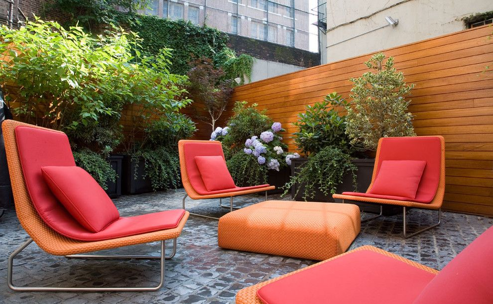 Paola Lenti for a Contemporary Patio with a Lounge and Greenwich Village Townhouse by Axis Mundi