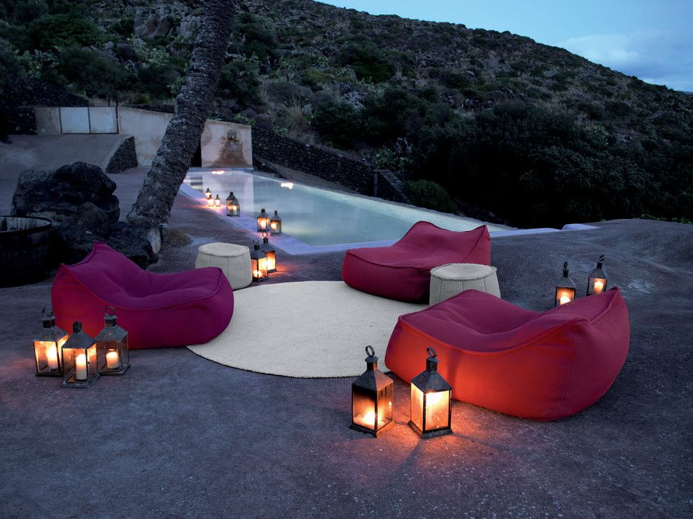 Paola Lenti for a Tropical Pool with a Bean Bag Chairs and Paola Lenti   Showroom   Selection Collection by Escale Design