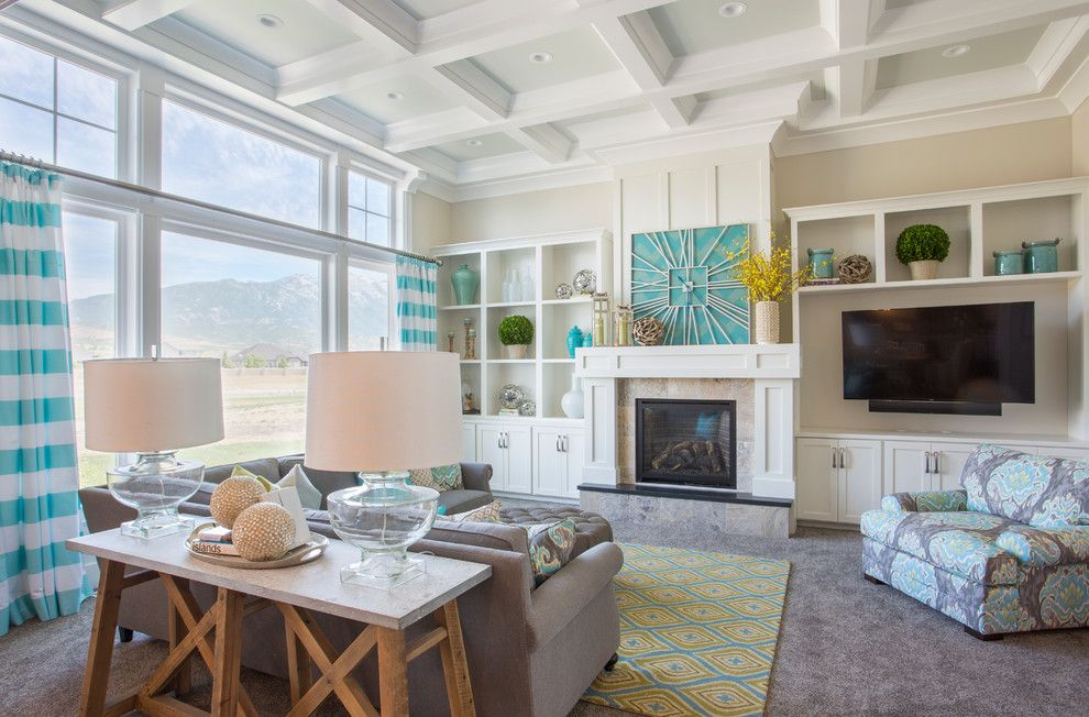 Parade of Homes Mn for a Transitional Family Room with a Gray Carpet and 2014 Parade Home - Lehi by Joe Carrick Design - Custom Home Design