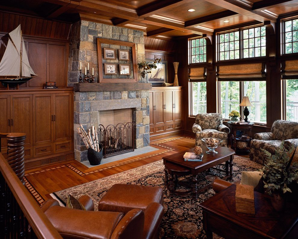 Parapet Wall for a Traditional Living Room with a Traditional and Saratoga Lake House by Wallant Architect