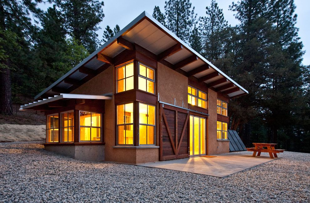 Passive Solar House Plans for a Rustic Exterior with a Pv Panels and Chalk Hill Off Grid Cabin by Arkin Tilt Architects