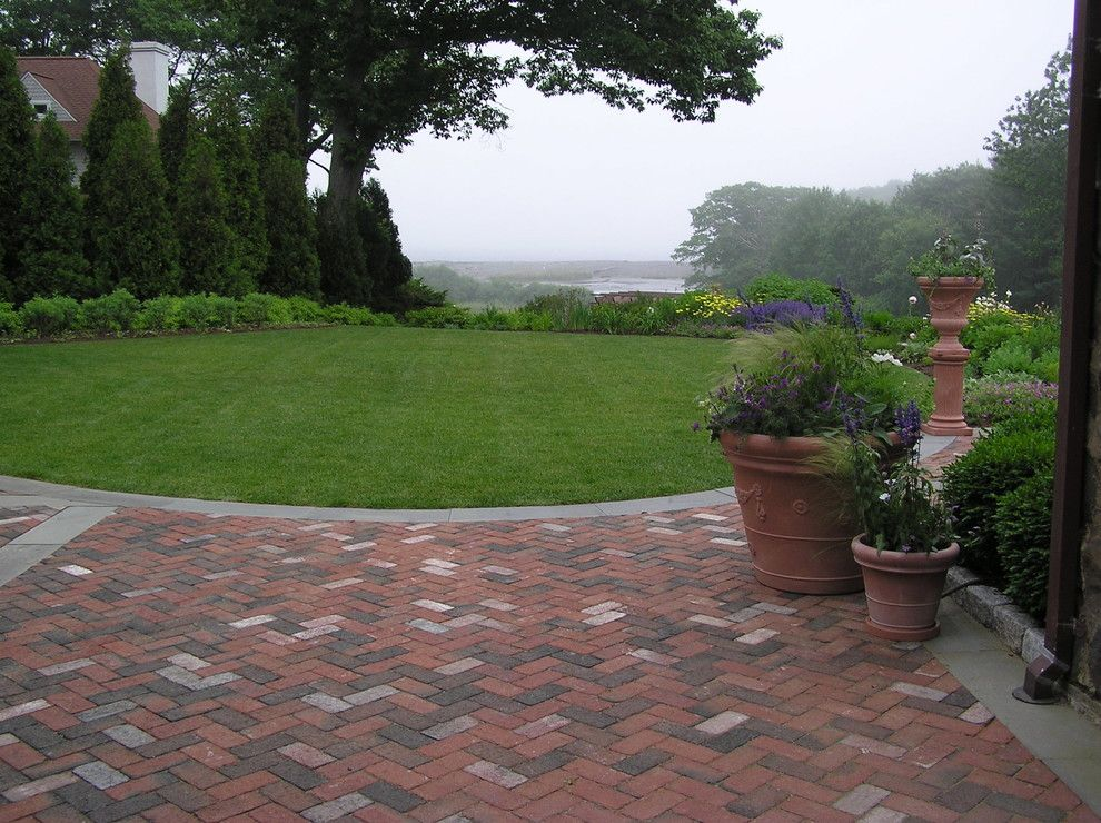 Paver Patterns for a Traditional Landscape with a Container Plants and Stone Cottage Renovation by Woodburn & Company Landscape Architecture, Llc