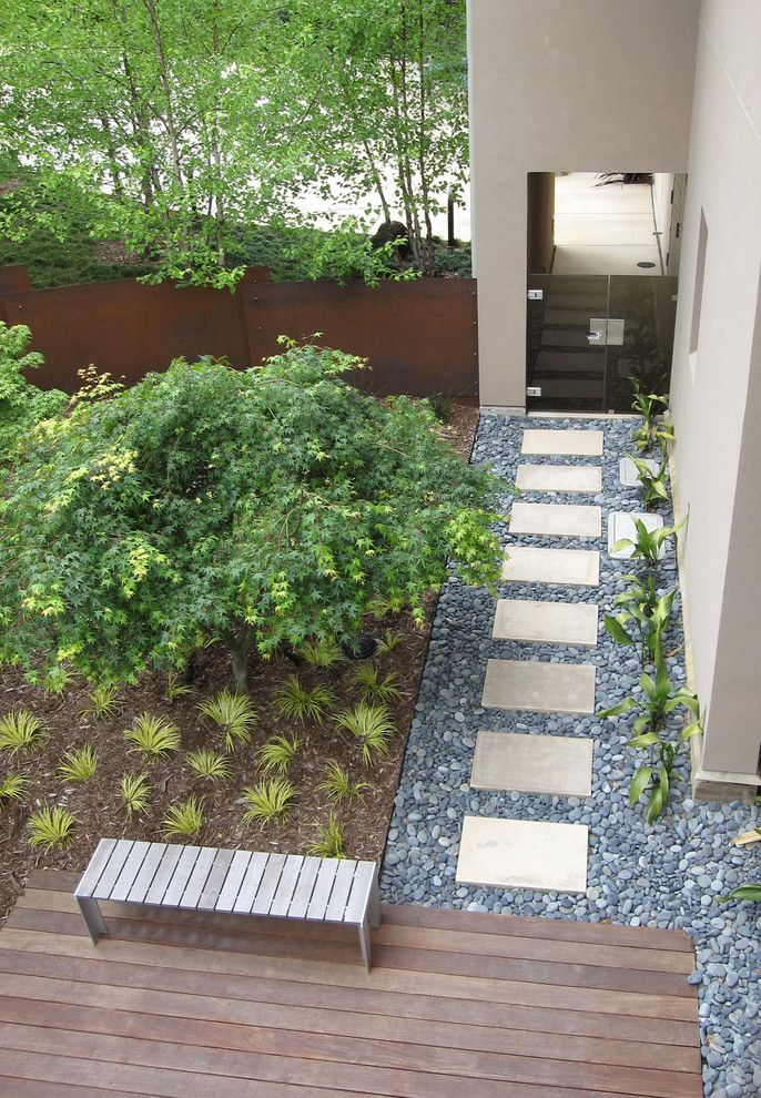 Paver Steps for a Contemporary Landscape with a Rock and Grass Terraces by Shades of Green Landscape Architecture