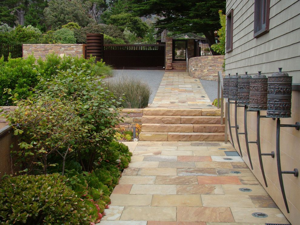 Paver Steps for a Contemporary Landscape with a Sculpture and Carmel Highlands by Randy Thueme Design Inc.   Landscape Architecture