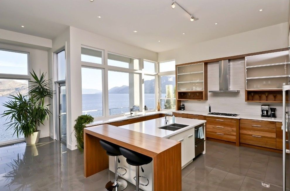 Pawleys Island Posh for a Contemporary Kitchen with a Kitchen Counter and Modern Home Okanagan by Iron Wood Cabinet Company