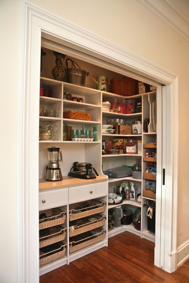 Peabody Building Supply for a Traditional Kitchen with a White and Custom Pantry by Marie Newton, Closets Redefined
