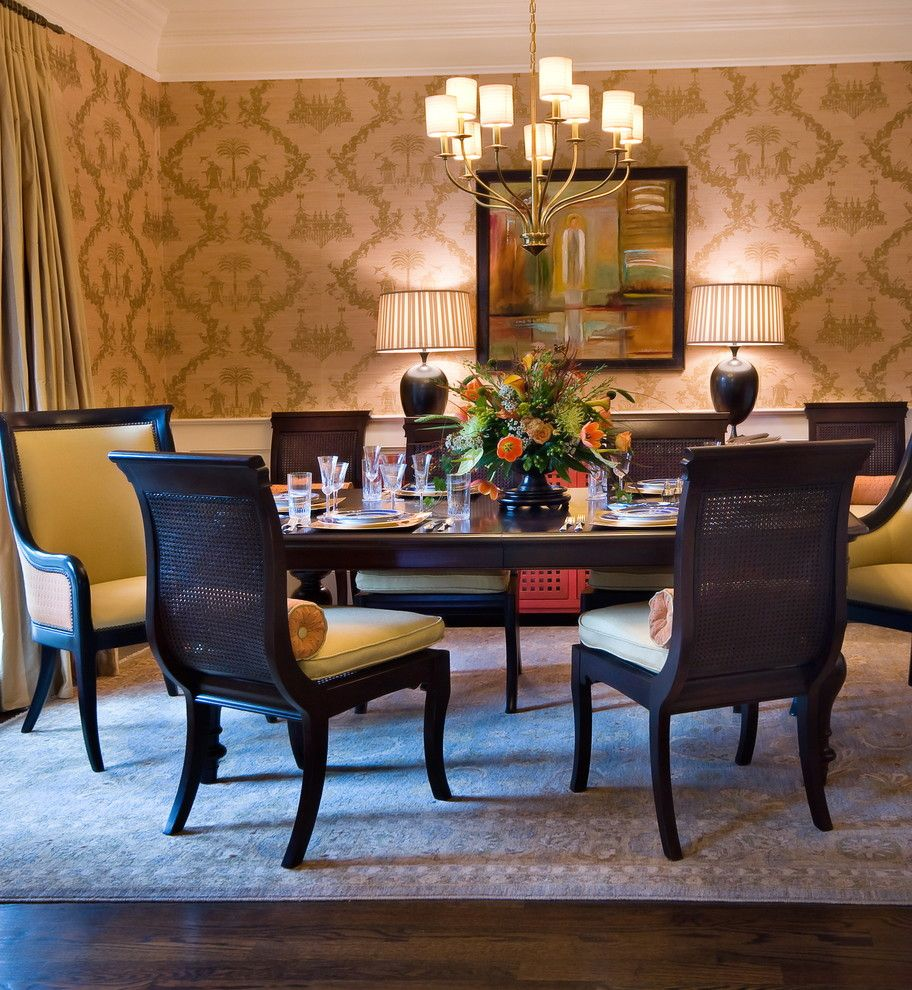 Peaceful Valley Furniture for a Traditional Dining Room with a Brass Chandelier and Lorraine Vale by Lorraine G Vale, Allied Asid