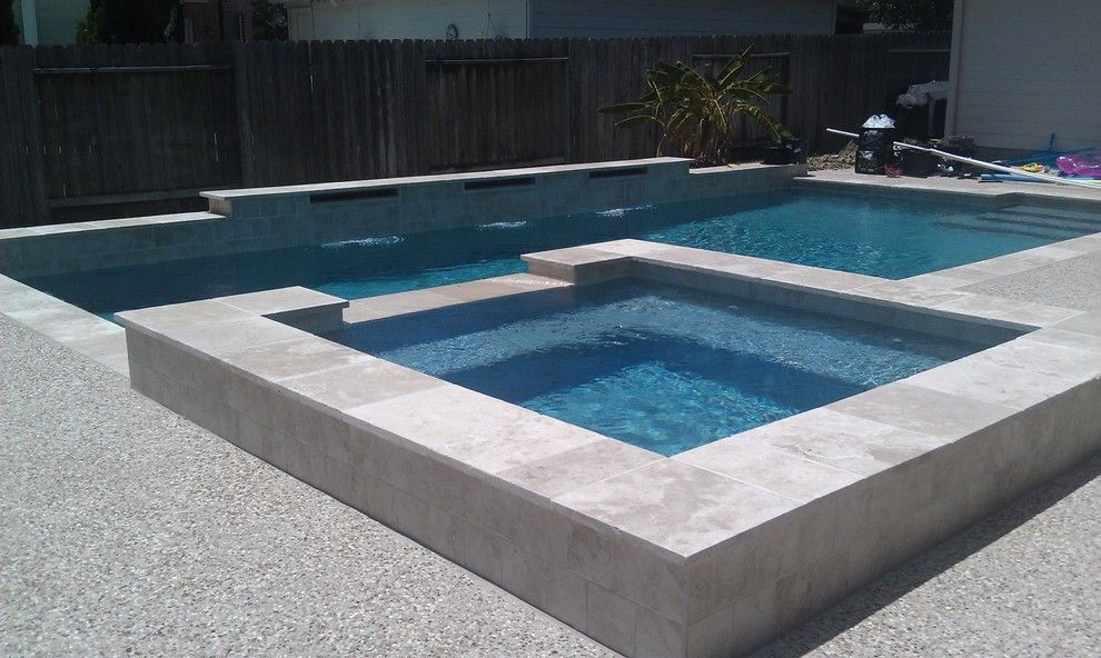 Pebble Sheen for a Contemporary Pool with a Contemporary and Pebble Sheen by Ocean Blue Pools