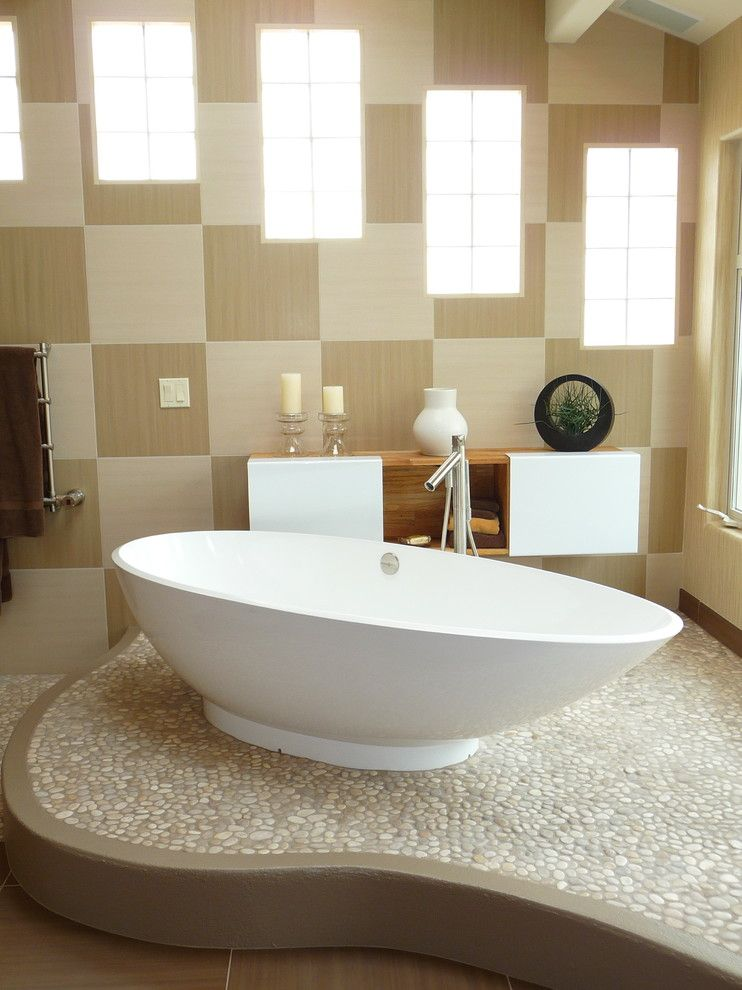 Pebble Tec Colors for a Contemporary Bathroom with a Contemporary and Freestanding Bath by Susan Jay Design