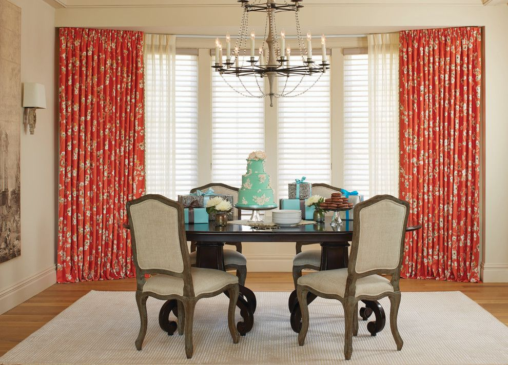 Pebble Tec Colors For A Contemporary Dining Room With Drapery Fabric And Add Color Printed Drapes By Budget Blinds