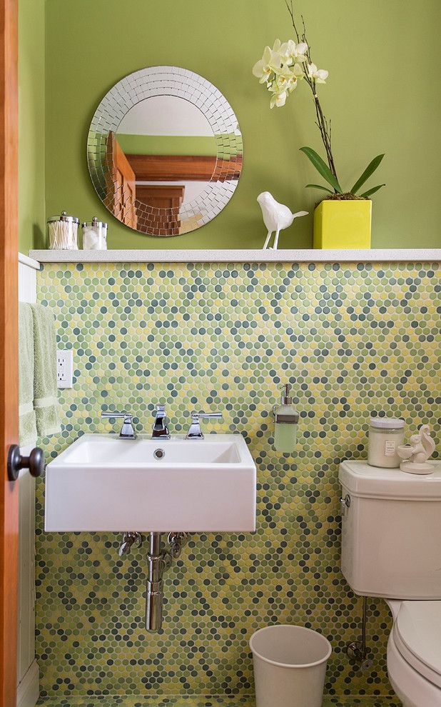 Pebble Tec Colors for a Contemporary Powder Room with a Blue Yellow Green Dot Tile and Round About by David Lund Design