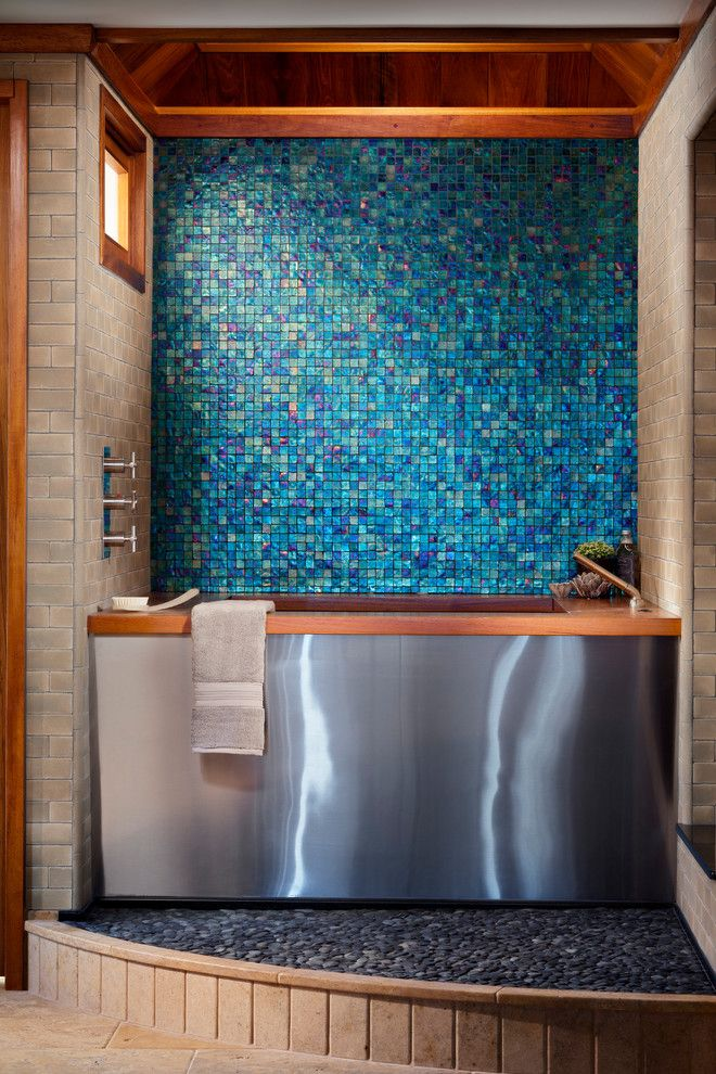 Pebble Tec Colors for a Modern Bathroom with a Iridescent and Private Residence, Newport Beach Ca by Oceanside Glasstile
