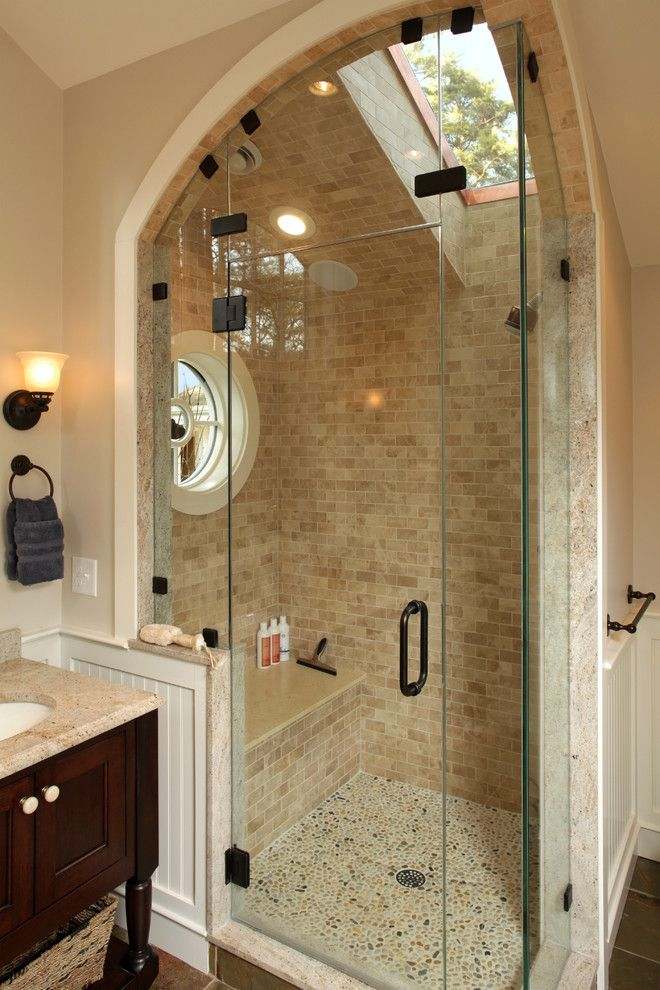 Pebble Tec Colors for a Traditional Bathroom with a Wall Sconce and the Beaverbrook Master Bath by Archia Homes