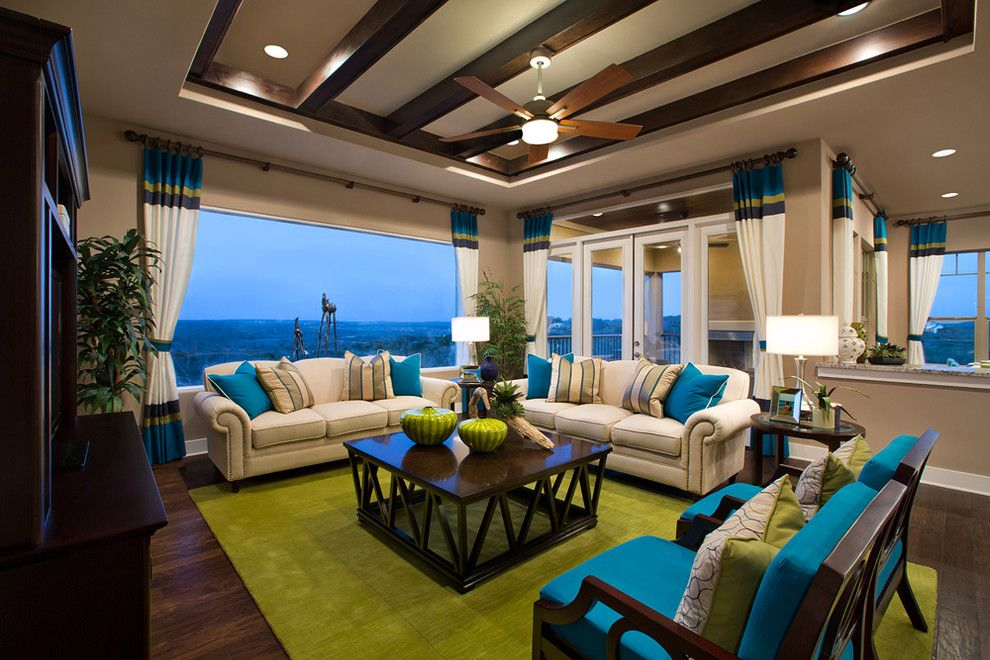 Pebble Tec Colors for a Traditional Living Room with a Beams and Jimmy Jacobs Custom Homes  Canyons at Scenic Loop by Mary Dewalt Design Group