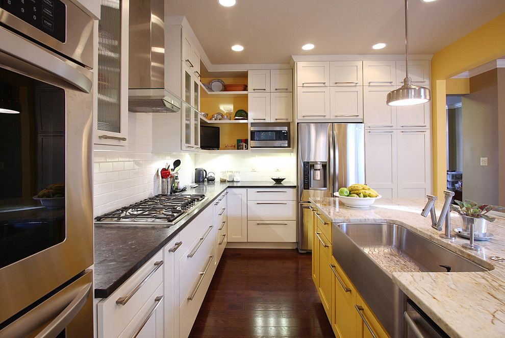 Pebble Tec Colors for a Transitional Kitchen with a Sherwin Williams and Contemporary Townhouse Kitchen by Nvs Remodeling & Design