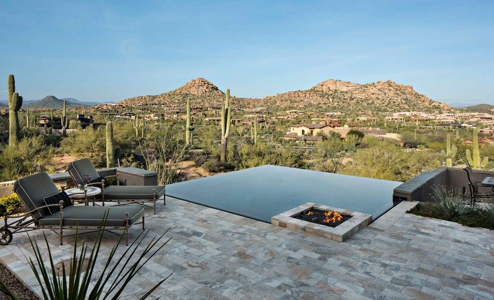 Pebbletec for a Contemporary Pool with a Low Garden Wall and Estancia Elegance by ArchitecTor, PC