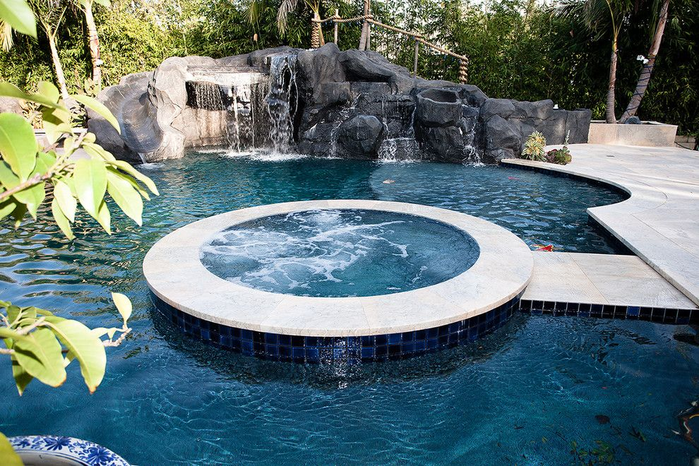 Pebbletec for a Mediterranean Pool with a Rocks and a Mediterranean Custom Home with a Modern Twist, by Mega Builders by Mega Builders