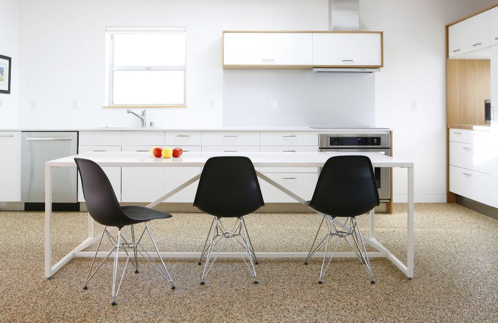 Pebbletec for a Modern Kitchen with a White Dining Table and Kitchen by Ras A, Inc.