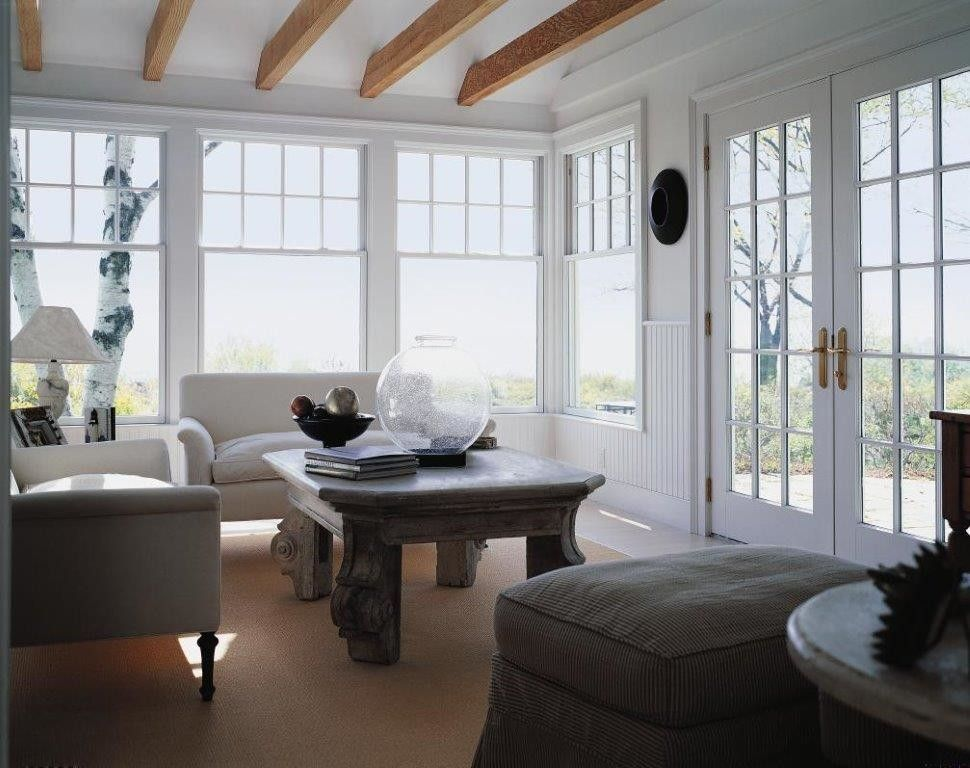 Pella Corporation for a Beach Style Family Room with a Hinged Doors and White Wood Windows by Pella Doors and Windows of Northern California