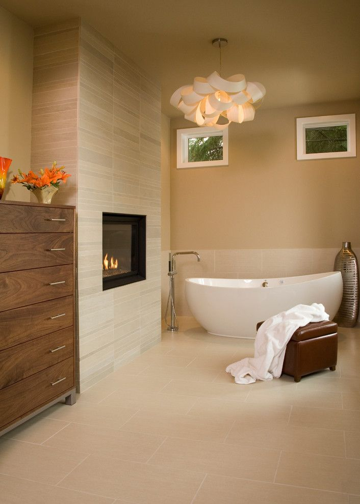 Pental for a Contemporary Bathroom with a Ceiling Light and Master Retreat Remodel by Hill Custom Homes