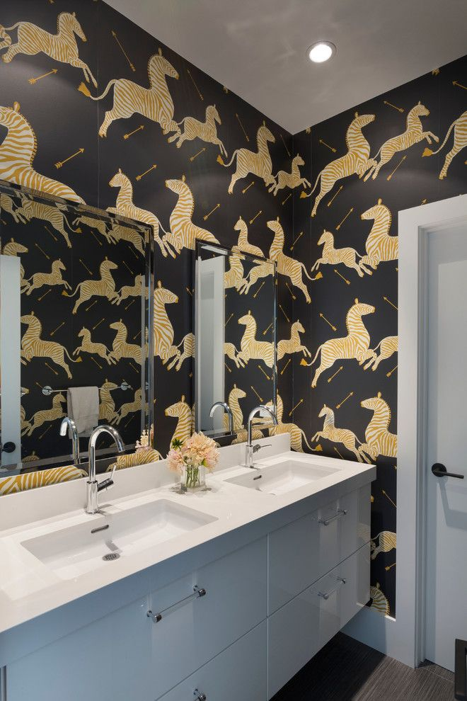 Pental for a Contemporary Bathroom with a Double Vanity and Bold Zebra Bathroom by Ann Lowengart Interiors