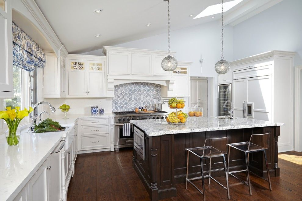 Pental for a Traditional Kitchen with a Kitchen Island Pendants and Transitional White Kitchen with Moroccan Accents by Lauren Jacobsen Interior Design