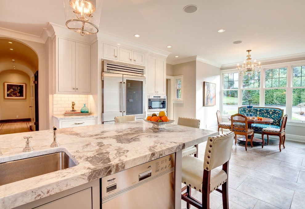 Pental for a Transitional Kitchen with a White Cabinets and Seattle Kitchen Remodel by Beverly Bradshaw Interiors