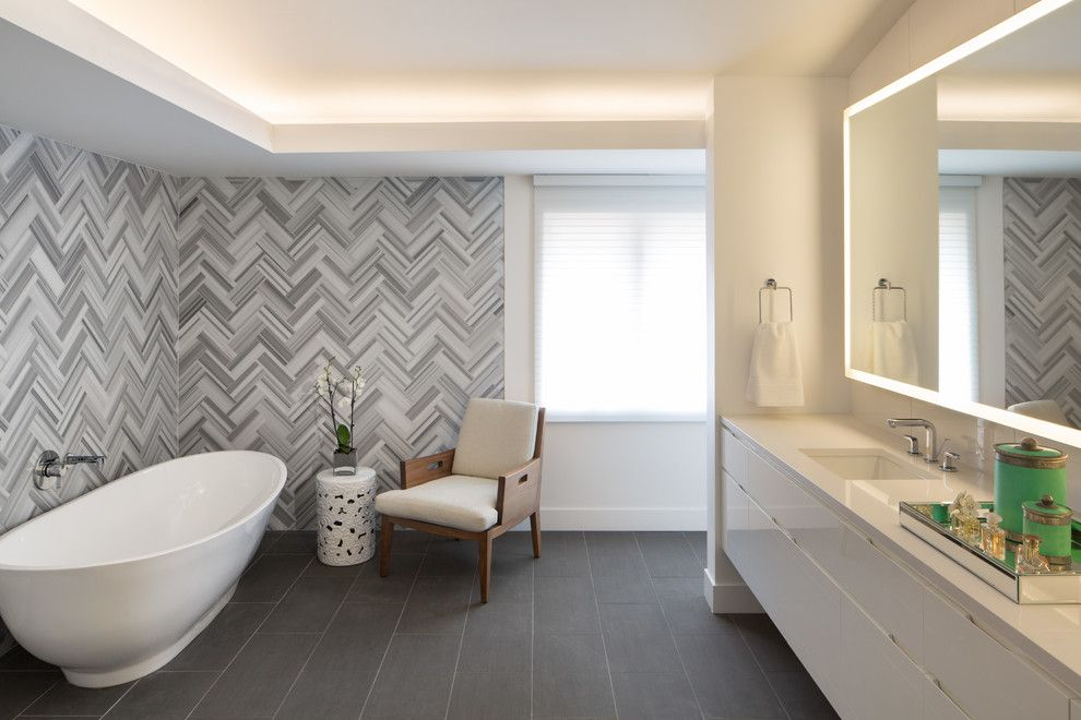 Pental Tile for a Contemporary Bathroom with a Freestanding Tub and Donner Residence by Design Platform