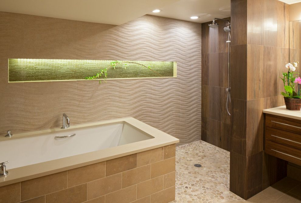 Pental Tile for a Contemporary Bathroom with a Master Bathroom and Truffle Master Bath by Ash Pierce Design, Llc