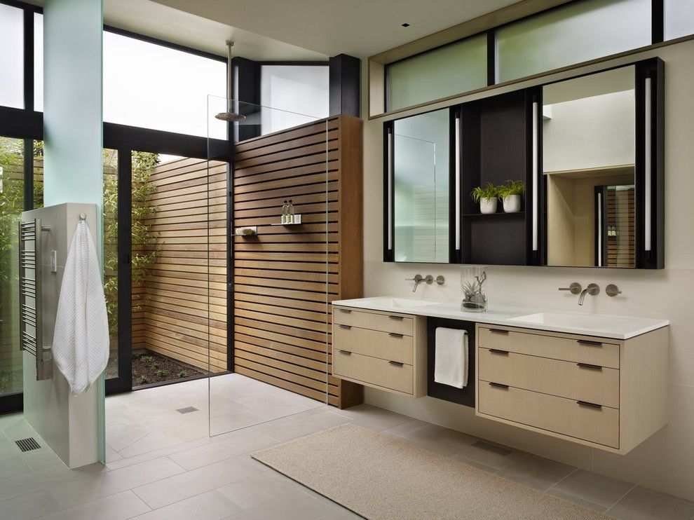 Pental Tile for a Modern Bathroom with a Floating Vanity and Hillside Modern by Deforest Architects