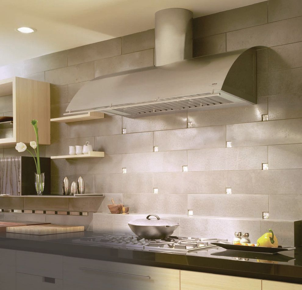 Pental Tile for a Modern Kitchen with a Floating Shelves and Zephyr by Zephyr Ventilation