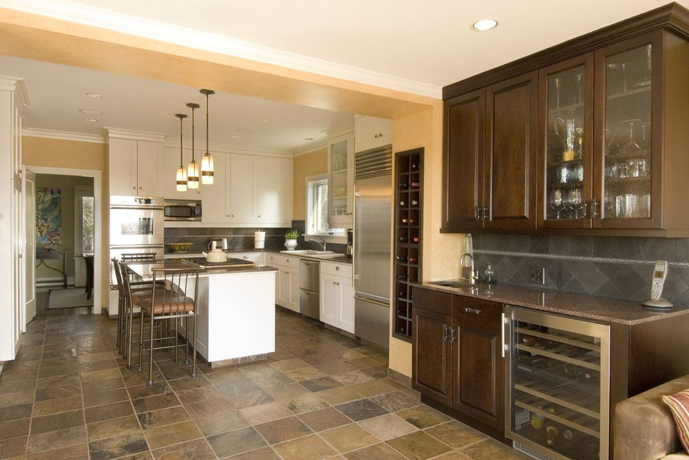 Pental Tile for a Traditional Kitchen with a Breakfast Bar and Queen Anne Addition Amd Renovation by Thomas Fine, Cgr, Gmb & Cgp