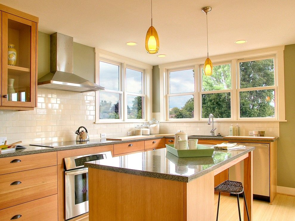 Pental Tile for a Traditional Kitchen with a Light Tone Wood Cabinets and Crown Hill Remodel by Neiman Taber Architects