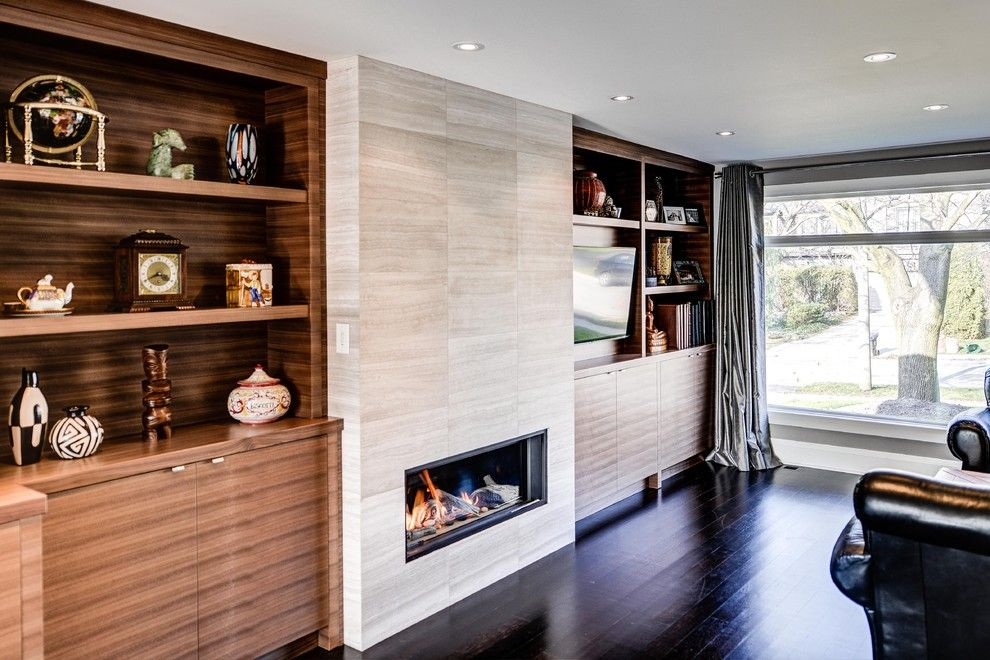 Peoples United Bank for a Contemporary Family Room with a Large Window and Parkwoods Home by Bravehart Design Build