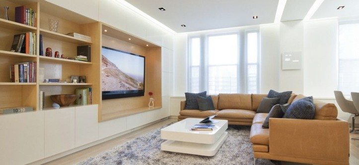 Peoples United Bank for a Modern Living Room with a Built in Shelves and Upper West Side Combo by StudioLAB, LLC