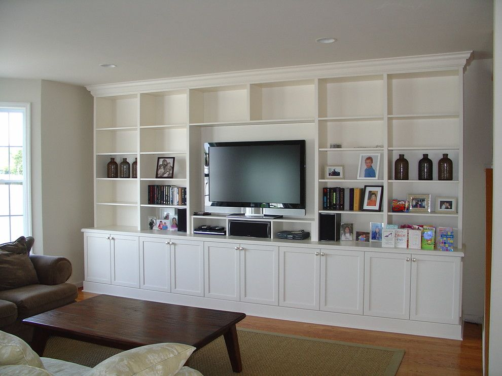 Peoples United Bank for a Traditional Living Room with a Narrow and Lacquer Painted Wall Unit by S.a.n Design Group, Inc.