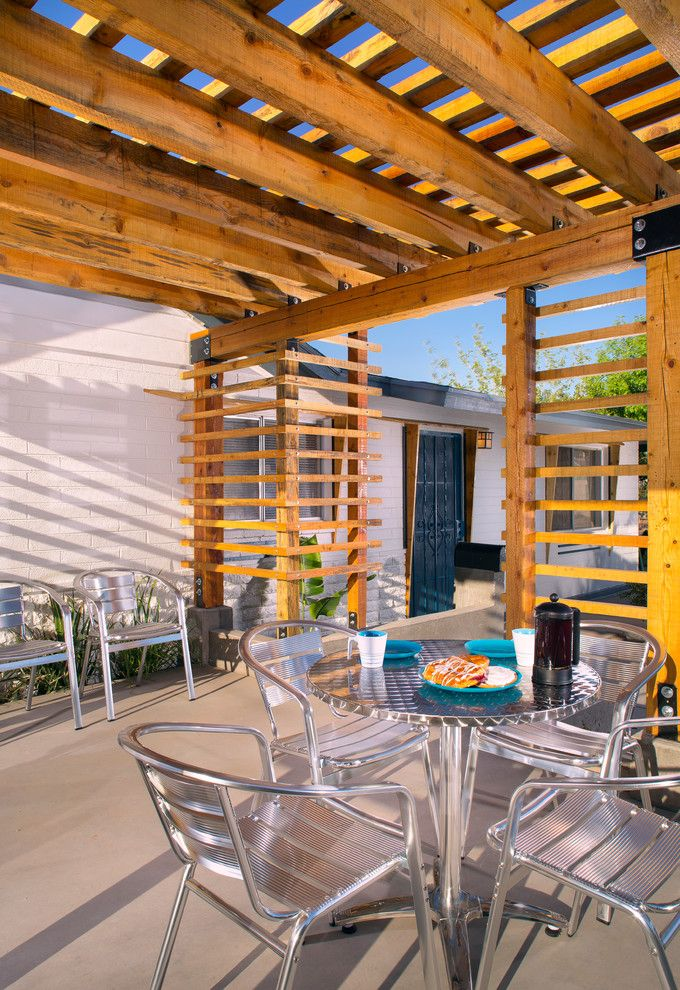 Perch Furniture for a Modern Patio with a Metal Patio Furniture and Pan Pergola by Trevor Pan   Architect, Pllc
