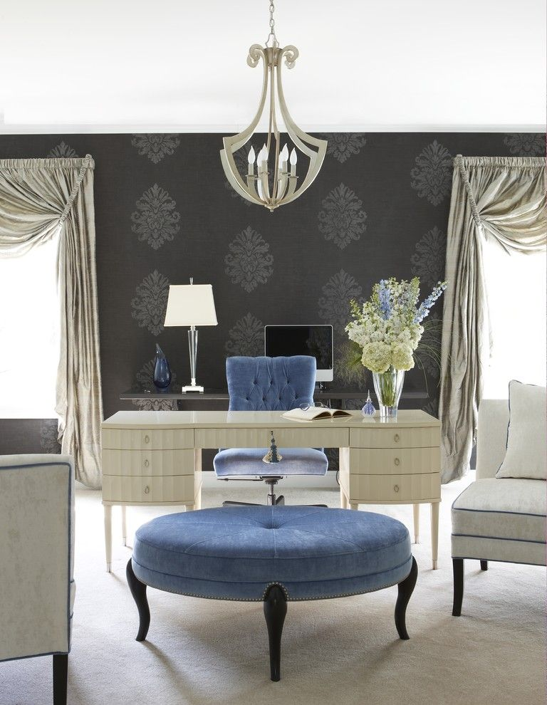 Perch Furniture for a Transitional Home Office with a Wallpaper and Glamorous Home Office by Cynthia Mason Interiors