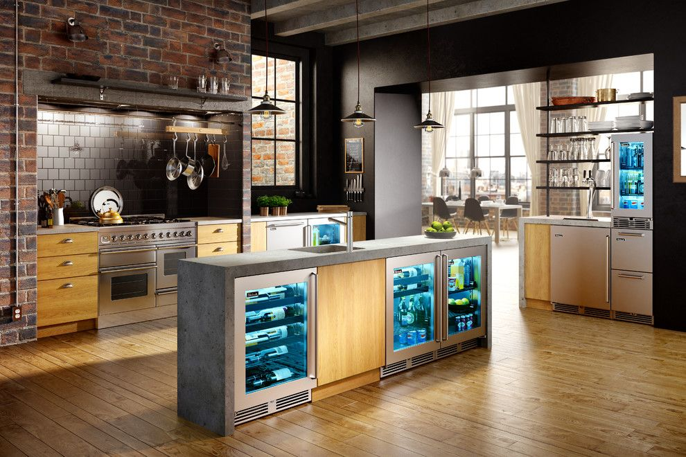 Perlick for a  Kitchen with a Shallow Fridge and Downtown Industrial Loft Kitchen by Perlick