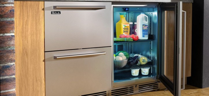 Perlick for a  Spaces with a Compact Refrigerator and Downtown Industrial Loft Kitchen by Perlick