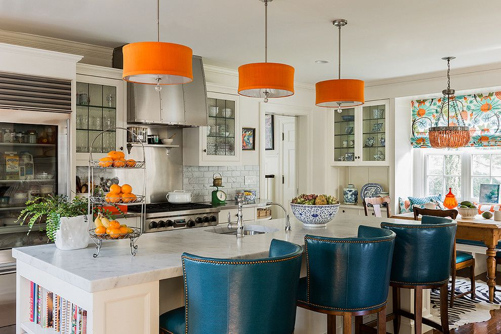 Persimmon Color for a Contemporary Kitchen with a Blue Barstools and in Living Color : Wellesley by Katie Rosenfeld Design